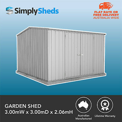 ABSCO PREMIER GARDEN SHED 3x3 ZINCALUME DOUBLE DOOR GABLE 3m x 3m 30YR WARRANTY