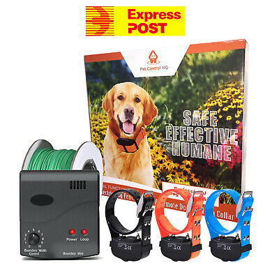 Waterproof electric dog fence system fencing 3 collar hidden pet containment new