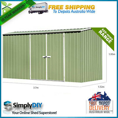 ABSCO ECO-nomy 3.74m x 1.52m GABLE ROOF GARDEN SHED 2 DOOR Premier Style GREEN