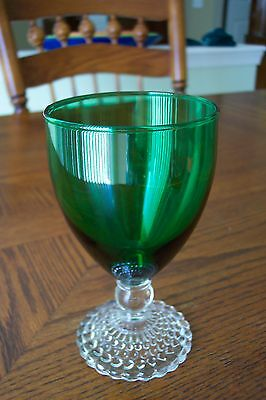 Anchor Hocking Forest Green Bubble Water Goblet