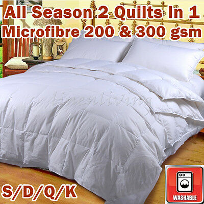 All Season 200&300GSM Microfibre 2 Quilts In 1 Single/Double/Queen/King Washable