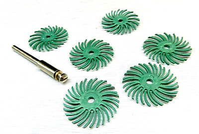 "1"" 3M RADIAL BRISTLE DISCS GREEN 50 GRIT BRISTLE BRUSH PACK of 6 and 1 MANDREL"