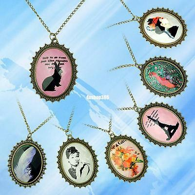RETRO STYLE FLOWER RABBIT TOWER BIG OVAL FRAME PENDANT LONG CHAIN NECKLACE