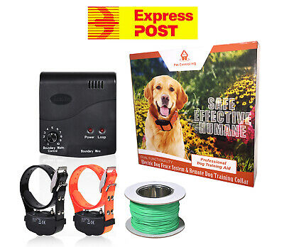 Waterproof electric dog fence system 2 collar fencing hidden pet containment new