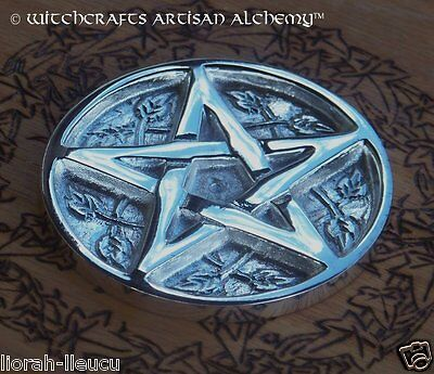 "Silver Pentacle Pentagram Altar Tile 3"" Diameter - Witchcraft Wicca Pagan Witch"