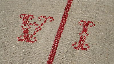 Antique European Feed Sack GRAIN SACK VI Monogram #3877