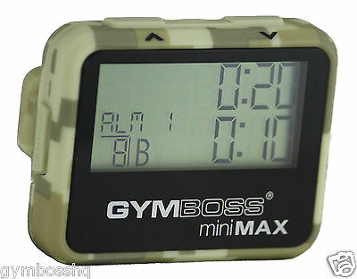 GYMBOSS miniMAX INTERVAL TIMER & STOPWATCH CAMOUFLAGE TAN SOFTCOAT FR GYMBOSS HQ
