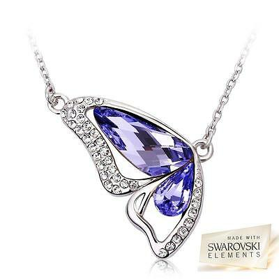 Sterling Silver Necklace & Butterfly Pendant With Swarovski Crystals