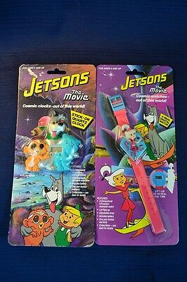 Two Vintage JETSONS THE MOVIE Watches Wristwatch Stick On Mint On Card