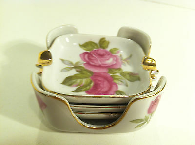 Vintage Lefton Pink Roses Floral And Gold Nested Ashtrays With Holder 4995R