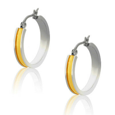 Stainless Steel Yellow Gold Silver Two-Tone Womens Girls Hoop Earrings