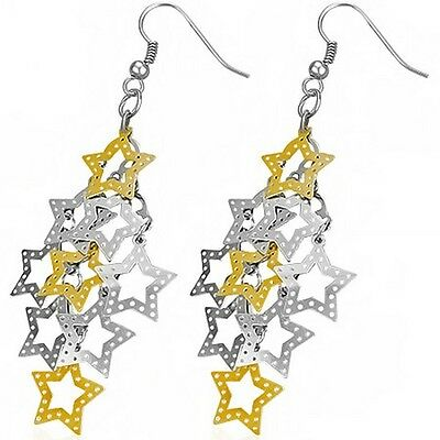 Stainless Steel Yellow Gold Silver Two-Tone Stars Long Drop Dangle Earrings