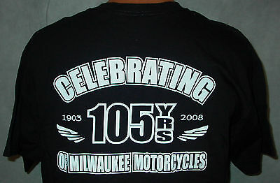 Harley-Davidson Motorcycles 1903-2008 Celebrating 105 Years Mens Medium T Shirt!