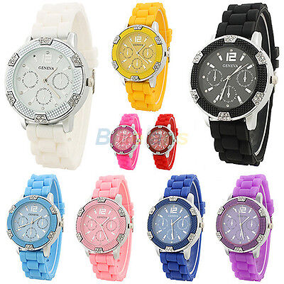 Geneva Fashion Crystal Stone Silicone Girl Women Lady  Jelly Quartz Wrist Watch