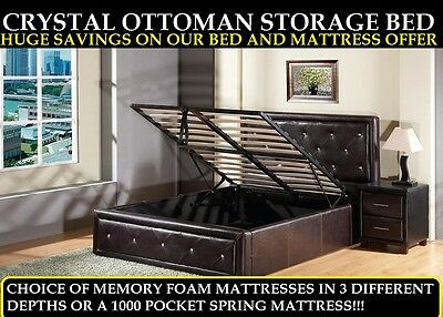 4Ft6 Double Diamante Crystal Ottoman Storage Bed 5Ft King - Express Delivery-