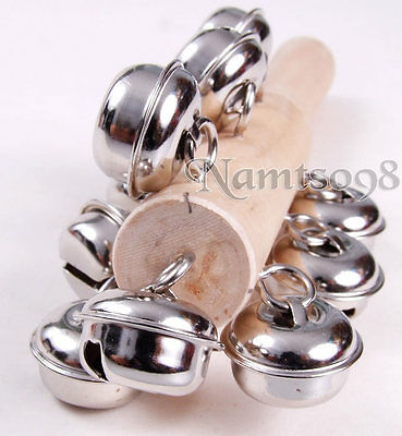 Jingle Percussion Sleigh Shaking 10 Bells/Hand Rattle/Wooden Musical Instrument