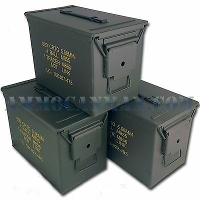 3 CANS! THREE NEW MIL-SPEC FAT 50 CAL PA108 SAW BOX EMPTY AMMO CANS NO STENCILS