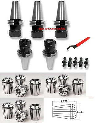 5Pc Cat40 Er32 Precision Collet Chuck And 12Pc Er32 Collets Haas Pull Stud