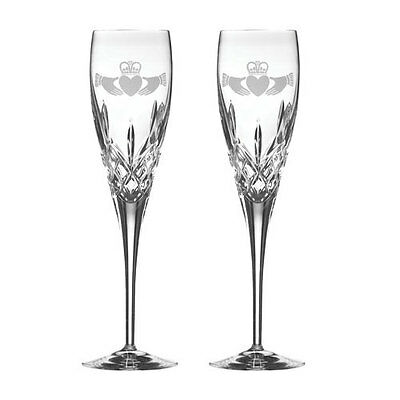 Galway Crystal Personalized Irish Crystal Set of 2 Cladagh Champagne Flutes