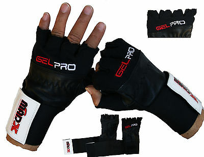 MADX Real Leather Weight lifting GEL PRO gloves gym body training size S M L XL