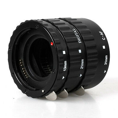 Black Mount Auto Focus AF Macro Extension Tube/Ring For CANON EOS EF-S 1D 7D 6D