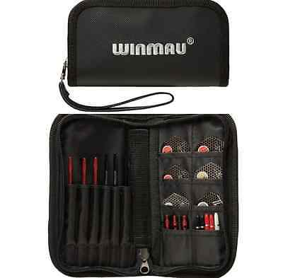 WINMAU SUPER BLACK DARTS and ACCESSORY CASE WALLET HOLDS 2 SETS OF DARTS