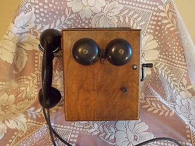 Antique Very Rare Complete Western Electric Oak Ringer Box/ Telephone Excellent