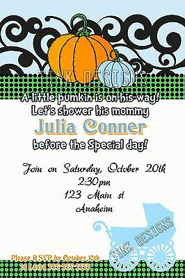 Baby Shower Little Pumpkin Invitations Halloween Fall Personalized favor
