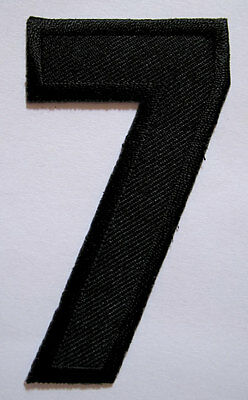 NUMBER SEVEN NO.7 #7 Black Embroidered Iron on Patch + Free Shipping