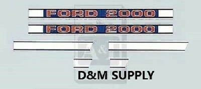 Ford 2000 tractor hood decal set 1968 up 3 cyl