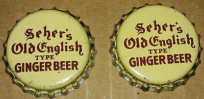 Lot of 2 Rare SEHERS OLD ENGLISH GINGER BEER Soda Pop Bottle Caps cork lined