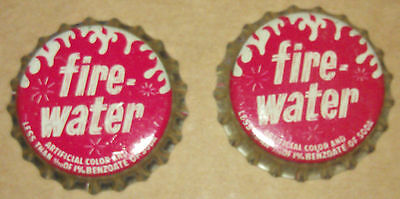 Lot of 2 Rare FIREWATER Soda Pop Bottle Caps cork lined New OLd Stock n-mint