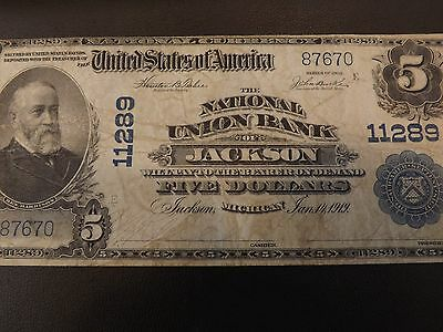 1902 Large Size National Currency $5, Jackson, Michigan Nice note free shipping
