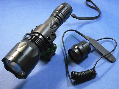 Long Range CREE XM-L T6 LED 1-Mode 1300Lm Flashlight Torch Hunting Kit C-10