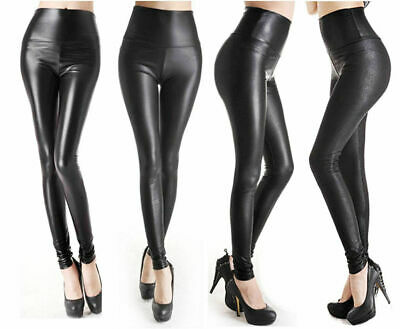 WOMENS FAUX LEATHER LEGGINGS Black High Waist Pants Legging - 4 styles XS S M L