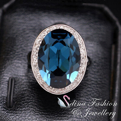 18K White Gold Plated Made With Swarovski Crystal Luxury Large Sapphire Ring