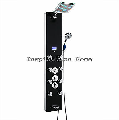 Bathroom Black Wall Jet Massage Spa Tempered Glass Wall Shower Panel
