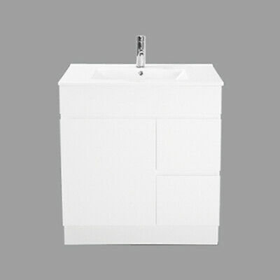 New 750mm Vanity Unit, White, Ceramic Basin, Freestanding with Kicker