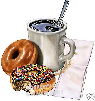 """Coffee & Donuts Decal 14"""" Food Truck Concession Restaurant Cart Vinyl Sticker"""