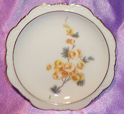 Collectable ~ Bavaria Germany Gold Rim Flower Pin Butter Pat Dish ~ Vintage
