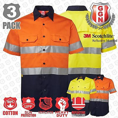 3x HI VIS SHIRTS SAFETY COTTON DRILL 3M REFLECTIVE VENTILATED SHORT SLEEVE
