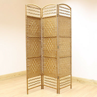 Beige 3 Panel Wicker Room Divider Hand Made Privacy Screen/Separator/Partition