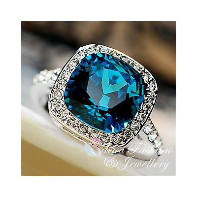 18K White Gold Plated Made With Swarovski Crystal Cushion Cut Sapphire Ring
