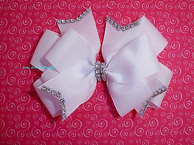 "Girls Diamond Double Layer Hair Bow. aprrox. 6"" Also can be made in 2 tones"