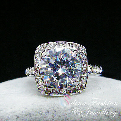18K White & Rose Gold GP Made With Swarovski Element Square Cut Engagement Ring