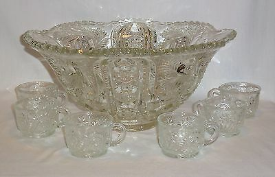 EAPG Wiltec Punch Bowl & 6 Cups Mckee Glass