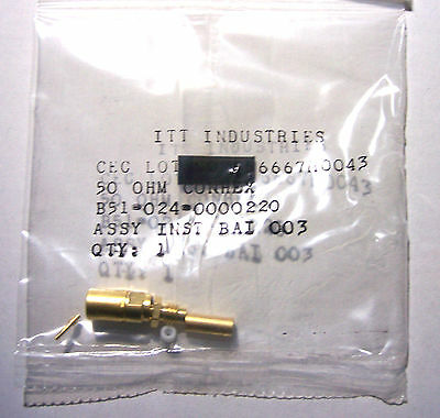 *NEW* ITT (Sealectro) B51-024-0000220 Straight SMB Connector for RG174 and RG316