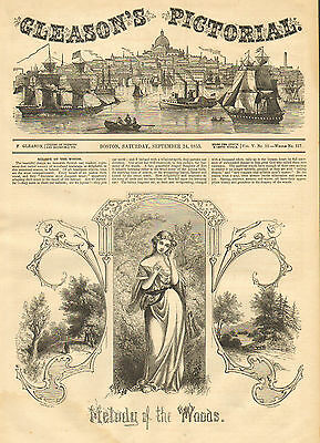 Pretty Lady, Melody Of The Woods, Autumn, Vintage, 1853 Antique, Art, Print,