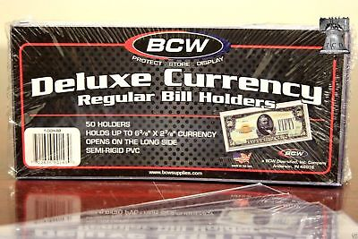 25 BCW DELUXE CURRENCY Semi Rigid Dollar Bill Banknote Regular Holder USA Made