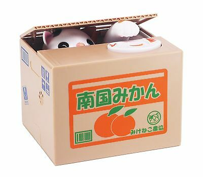 Itazura Coin Bank Automated Kitty Cat Stealing Money Piggy Bank White Kitty